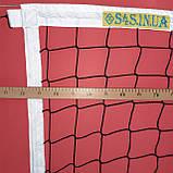 Сітка волейбольна безузловая «ЄВРО НОРМА» з тросом чорно-біла, фото 3