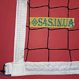 Сітка волейбольна безузловая «ЄВРО НОРМА» з тросом чорно-біла, фото 5