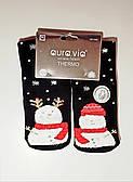"""Новорічні шкарпетки махрові жіночі зимові всередині бавовна """"Aura 35-38"""