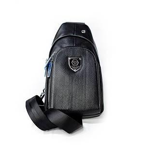 Рюкзак-слинг от Philipp Plein натуральная кожа Черный AAA Copy