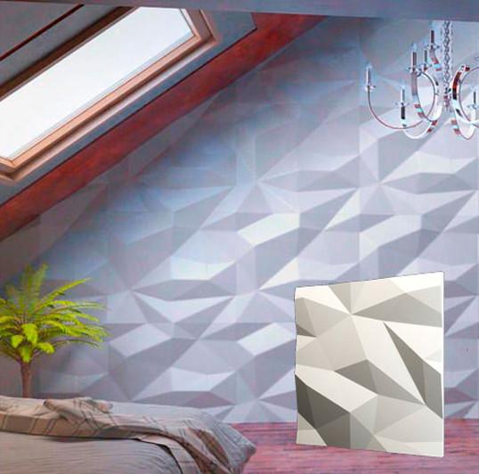 """Гіпсова 3d панелі для стін """"Кристали"""" (декоративна стінова 3d панель)"""