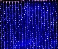 Гирлянда штора-водопад, прозрачный шнур, 3*2.5 м, 480 led синяя, с переходником