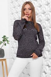Стильный меланжевый женский свитер черно-фиолетовый