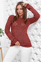Теплый женский нарядный свитер терракот меланж