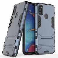 Чехол Hybrid case для Samsung Galaxy M30s (M307) бампер с подставкой темно-синий