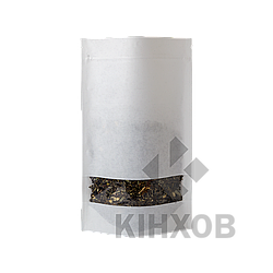 Пакет Дой-Пак крафт РЕ білий + вікно 180*280 дно (45+45)