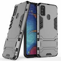 Чехол Hybrid case для Samsung Galaxy M30s (M307) бампер с подставкой темно-серый