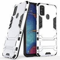 Чехол Hybrid case для Samsung Galaxy M30s (M307) бампер с подставкой светло-серый