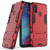 Чехол Hybrid case для Samsung Galaxy M30s (M307) бампер с подставкой красный