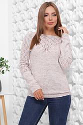 Удобный теплый женский свитер капучино меланж
