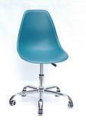 Офісний пластиковий стілець на коліщатках регульований Nik Office Onder Mebli, зелений 02