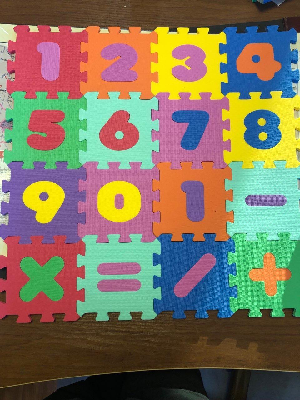 """Детский коврик-пазл  """"Веселая математика"""" набор 16 элементов  из EVA 52х52х1см"""