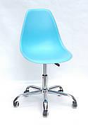 Офісний пластиковий стілець на коліщатках регульований Nik Office Onder Mebli, блакитний 52