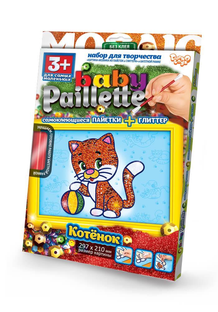 Набор для творчества глиттер+пайетки Котенок Baby Paillette (РG-01-02)