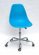 Офісний пластиковий стілець на коліщатках регульований Nik Office Onder Mebli, блакитний 51