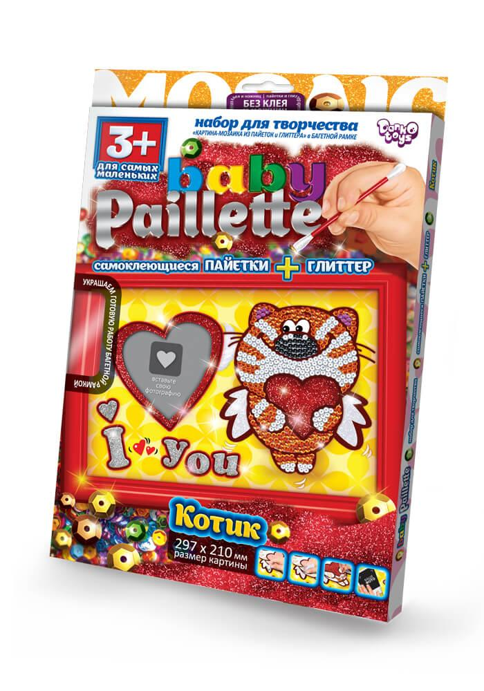 Набір для творчості гліттер+паєтки Котик Baby Paillette (РG-01-04)