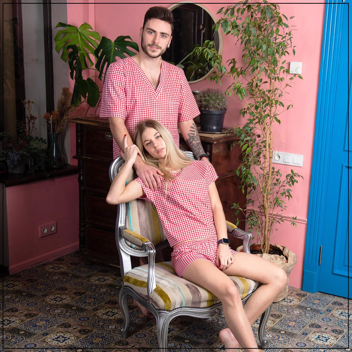 """Пижама мужская """"Клетка красная"""" Хлопок, шорты и футболка"""