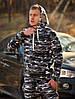 Мужской зимний спортивный костюм с капюшоном камуфляжный серый airsoft