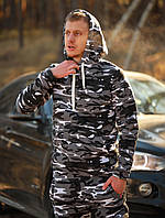 Мужской зимний спортивный костюм с капюшоном камуфляжный серый airsoft, фото 1