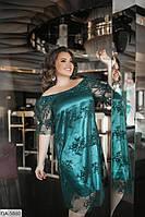 Атласное женственное платье с сеткой сверху р-ры 48-64 арт 05094