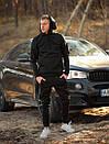 Мужской зимний спортивный костюм с капюшоном черный с флисом, фото 2