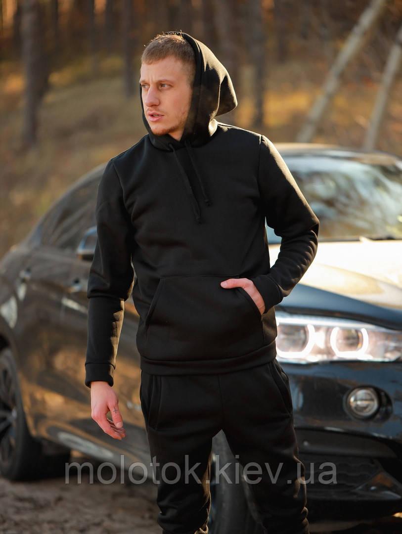 Мужской зимний спортивный костюм с капюшоном черный с флисом