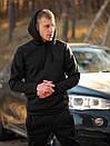 Мужской зимний спортивный костюм с капюшоном черный с флисом, фото 3