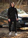 Мужской зимний спортивный костюм с капюшоном черный с флисом, фото 4