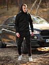 Мужской зимний спортивный костюм с капюшоном черный с флисом, фото 5