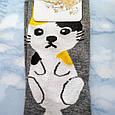 Носки женские с принтом котика серые размер 36-41, фото 2