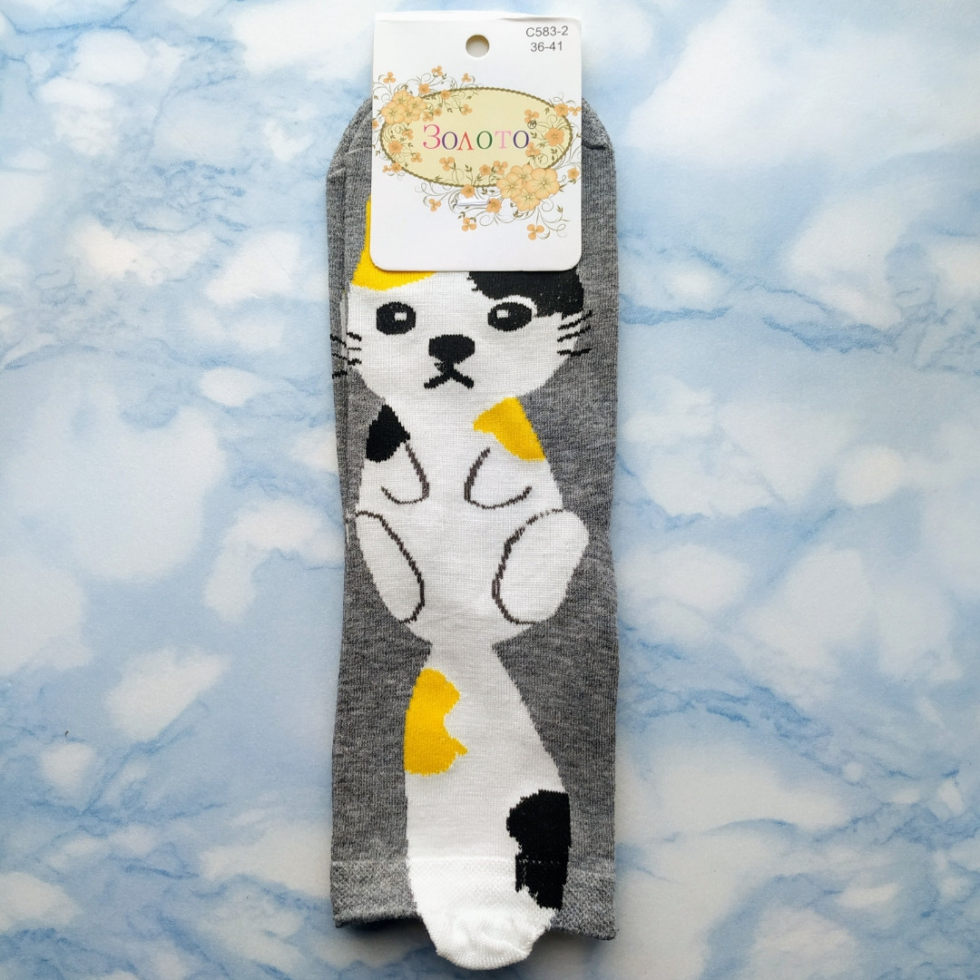 Шкарпетки жіночі з принтом котика сірі розмір 36-41