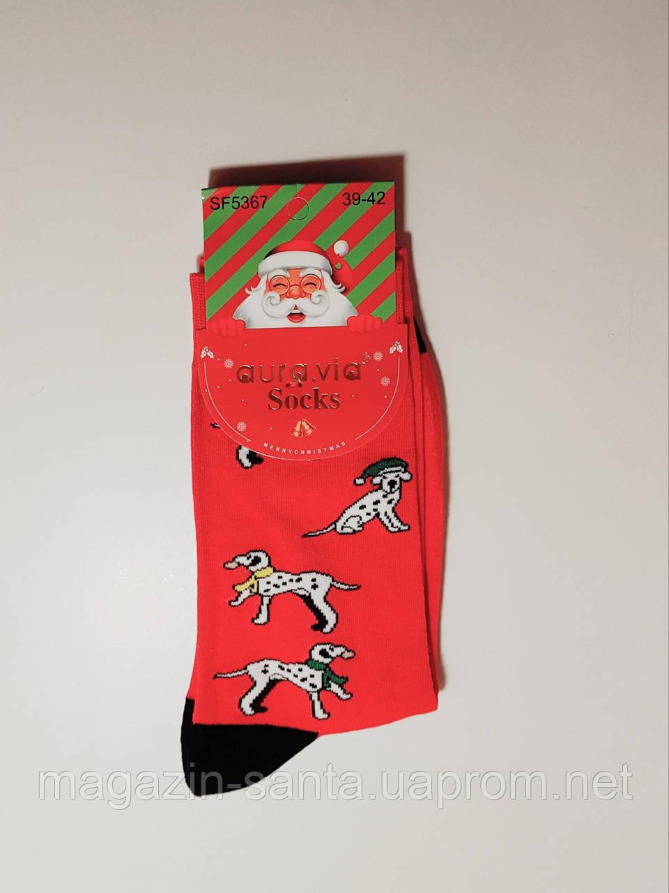 """Новогодние носки мужские  без махровые внутри хлопок """"Aura"""" 39-42"""