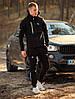 Мужской спортивный костюм BMW Puma черный Реплика с капюшоном утепленный