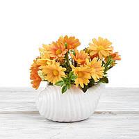 Декоративный вазон композиция из цветов в горшке Time-prezent ромашки оранжевые (0268-3-4)