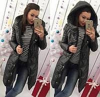 Женский теплый пуховик мод.245 (плащевка+синтепон 300) цвет черный..