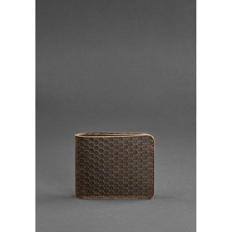 Мужское кожаное портмоне 4.1 (4 кармана) темно-коричневое Карбон