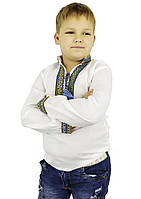 Детская вышиванка с домотканого полотна сине желтая, фото 1