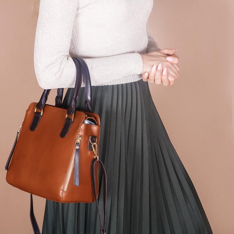 Женская сумка рыжая из натуральной кожи. Цвет кожи на выбор