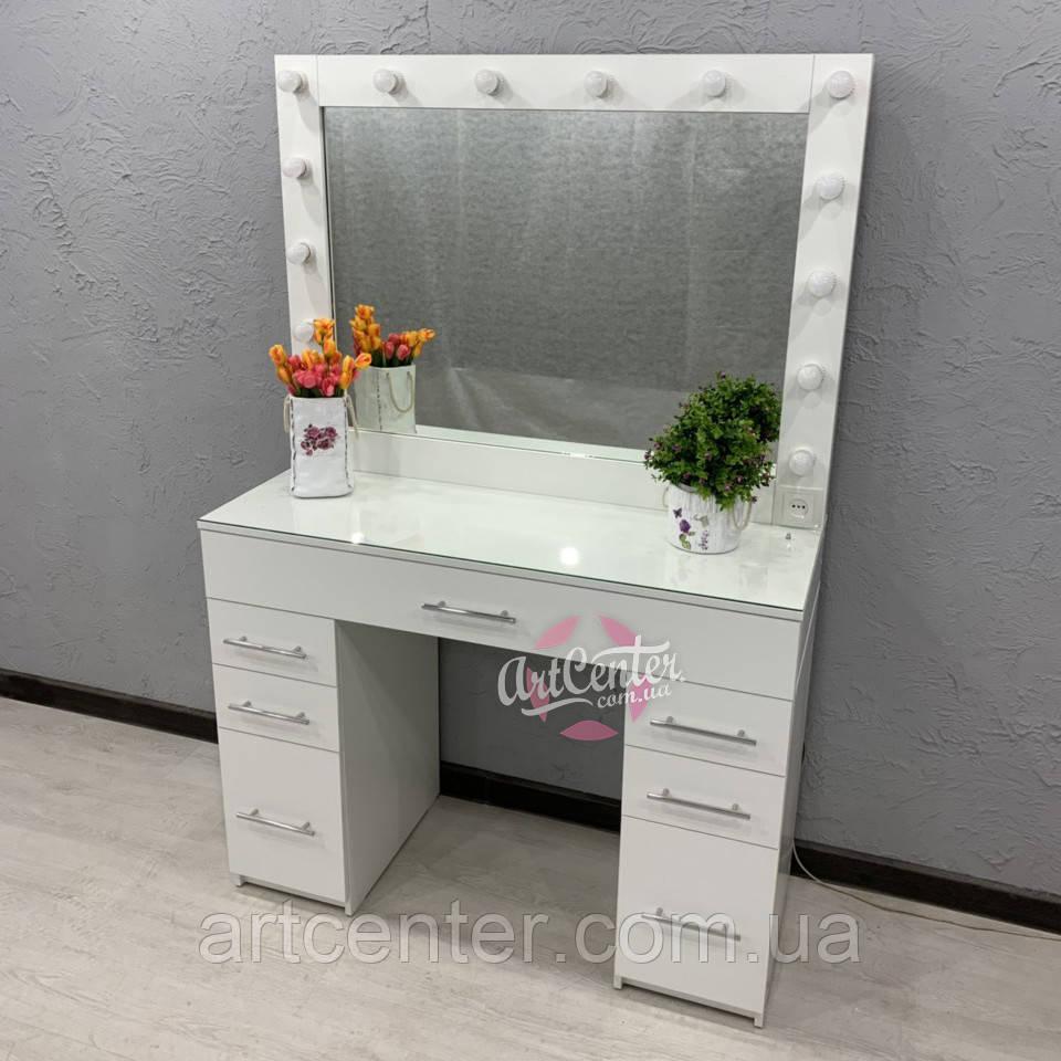 Стол для визажиста, центральный ящик с ячейками, стекло на столешнице