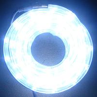 Гирлянда Шланг Дюралайт Белый 2-х жильный, 1000 см, прозрачный провод, переходник (1-43)