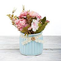 Декоративный вазон композиция из цветов в горшке Time-prezent камелия розовая в голубой вазе (0268-15-1)