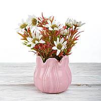 Декоративный вазон композиция из цветов в горшке Time-prezent ромашки белые в розовой вазе (0268-22-1)