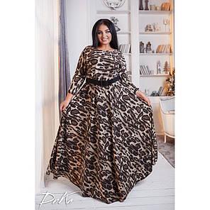 Плаття в підлогу леопард БАТАЛ 04д41, фото 2