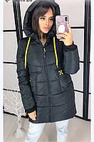 Женская зимняя куртка-пальто (плащёвка+синтепон 250) цвет черный.