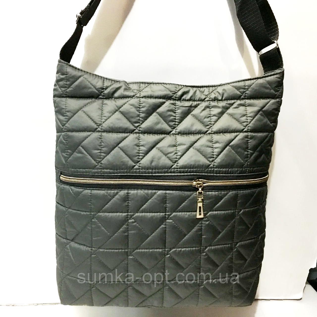 Женские стеганные сумки на плечо оптом (БРОНЗА)32*34см