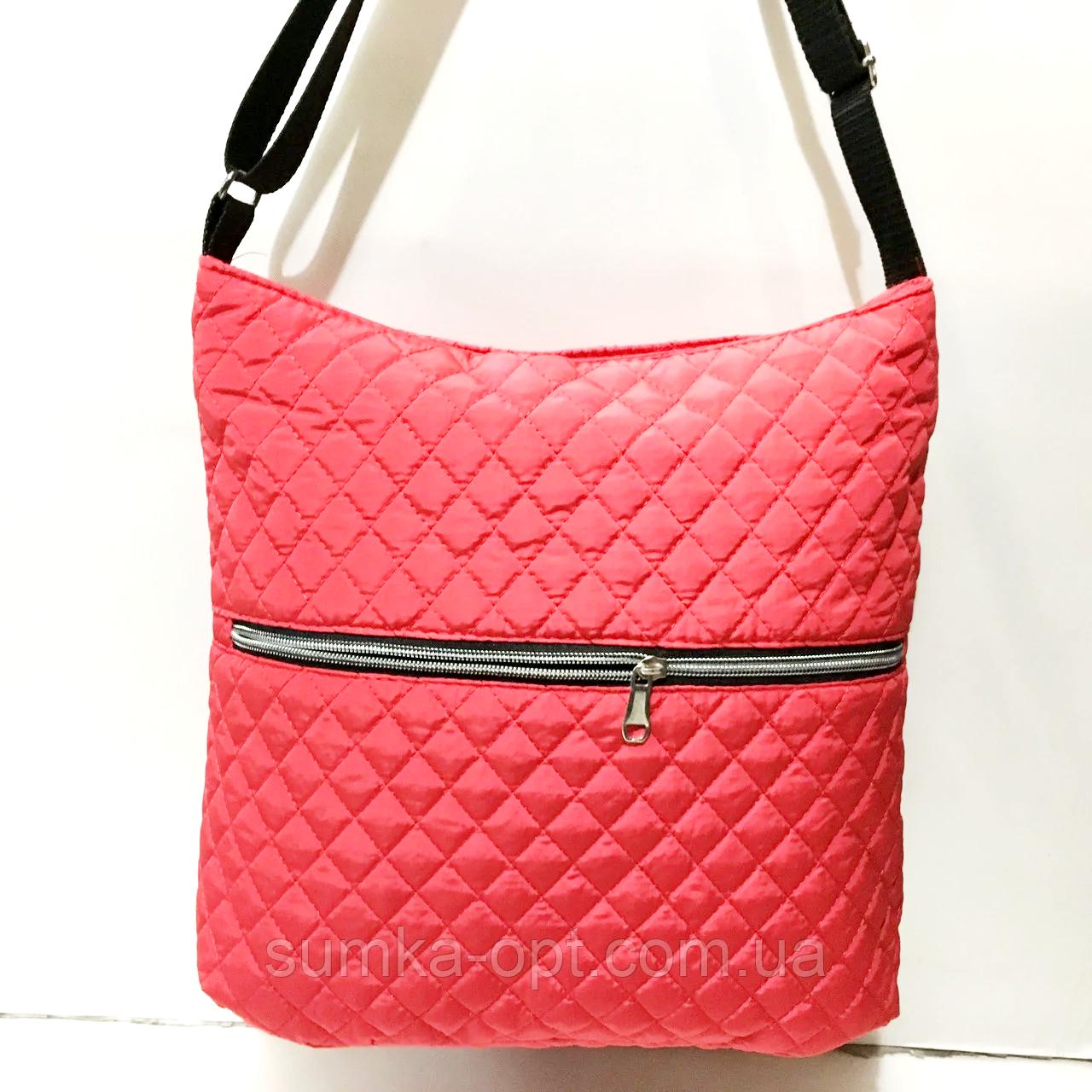 Женские стеганные сумки на плечо оптом (КРАСНЫЙ)32*34см
