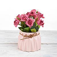Декоративный вазон композиция из цветов в горшке Time-prezent розы красные в розовой вазе (0268-21-6)