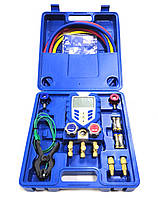 Манометрический коллектор електронный двухвентельный VALUE  VDG 1 (опред 44 вида фреона) с шлангами