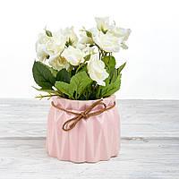 Декоративный вазон композиция из цветов в горшке Time-prezent розы белые в розовой вазе (0268-21-13)