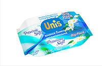 Влажные салфетки UNIS с пластиковой крышкой универсальные для всей семьи с экстрактом ромашки, 120 шт.